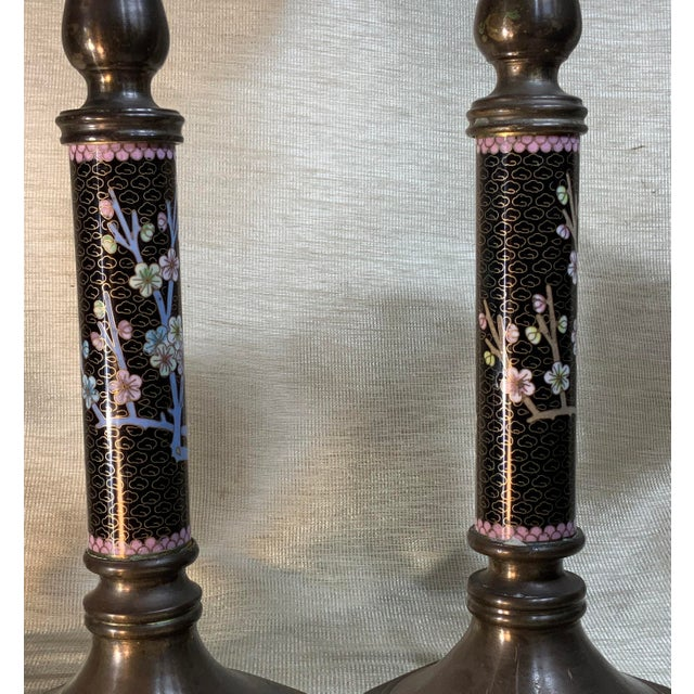 1940s Chinese Cloisonné Candleholders - a Pair For Sale - Image 9 of 13
