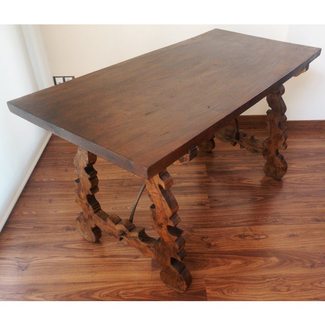 18th Century Refectory Spanish Table with Lyre Legs For Sale In Miami - Image 6 of 8