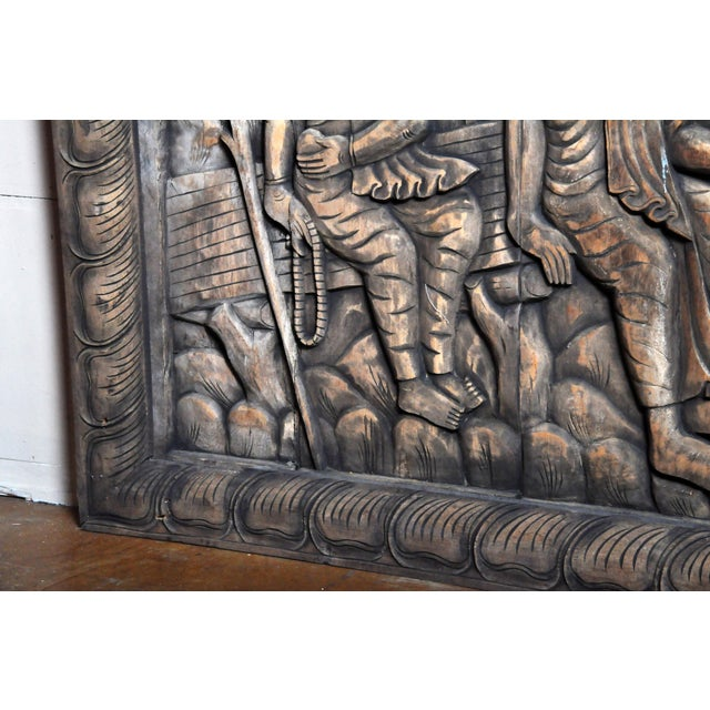 Wood Monumental Southeast Asian Teakwood Figurative Panel of Buddha For Sale - Image 7 of 13