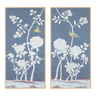 """Jardins en Fleur """"Brympton"""" Chinoiserie Hand-Painted Silk Triptych by Simon Paul Scott Framed in Burnished Gold - a Pair For Sale"""