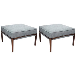 1960s Mid-Century Modern Natural Walnut Ottomans - A Pair For Sale