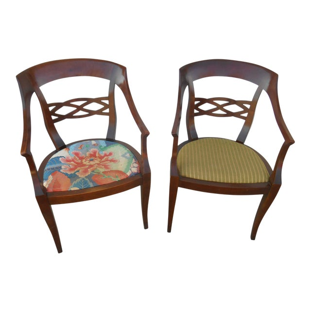 Vintage Baker Furniture Biedermeier Style Dining Chairs - A Pair - Image 1 of 7