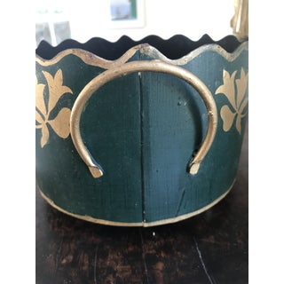 1980s Vintage Dark Green Tole Cachepot Preview