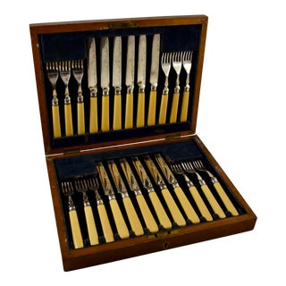 English Celluloid & Engraved Silver Dessert Cased Flatware, Service for 12