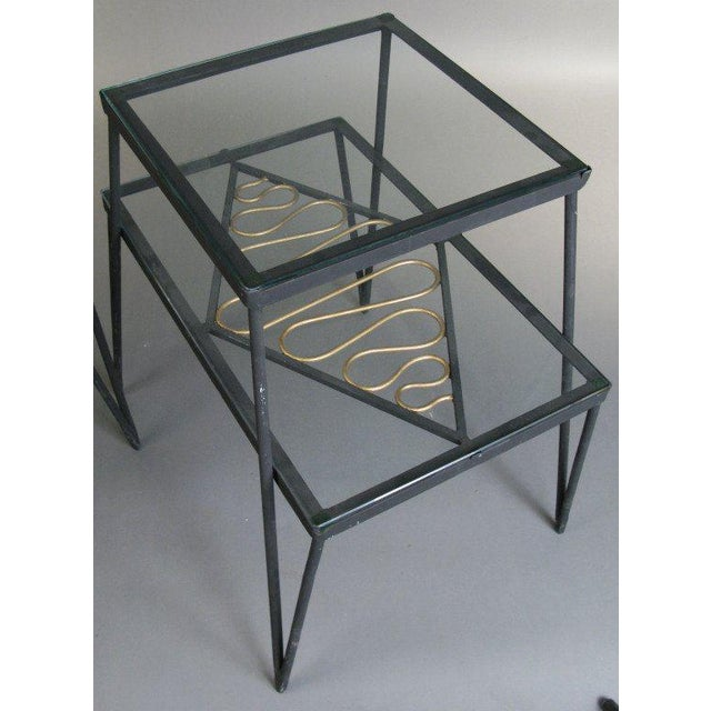 Mid-Century Modern Vintage Pair of Iron and Gilt Ribbon Tables For Sale - Image 3 of 8