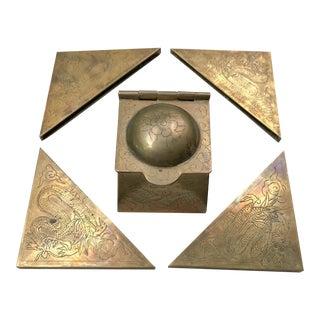 Brass Asian Dragon Desk Set Inkwell & Blotter Corners - Set of 5 For Sale