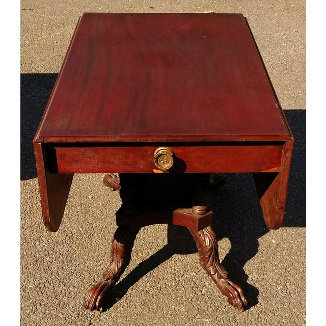 American Classical Antique American 19th C Drop-Leaf Table For Sale - Image 3 of 6