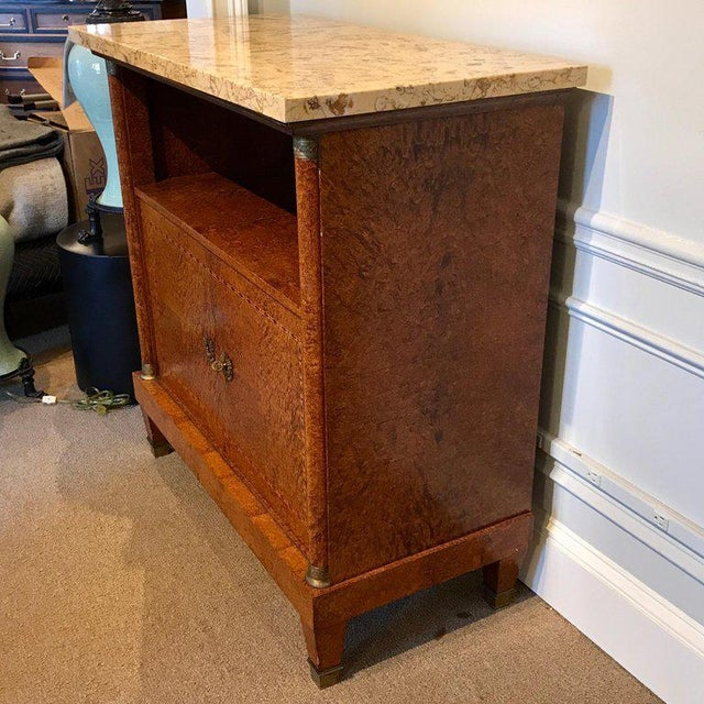 French Sienna Marble and Burlwood Bar or Sideboard For Sale - Image 10 of 13