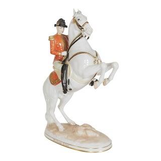 """Augurten Royal Vienna Porcelain """"Lipizzaner Horse Riding School Courbette"""" For Sale"""