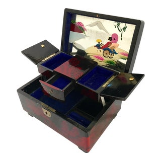 Vintage Japanese Lacquer Jewelry Musical Box For Sale
