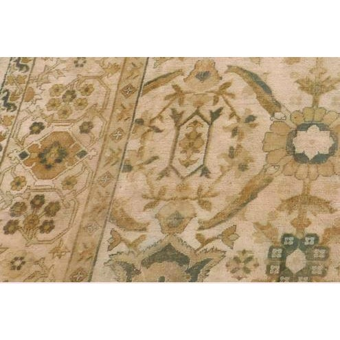Islamic Distressed Antique Hand Knotted Indo-Oushak Rug - 12′ × 17′6″ For Sale - Image 3 of 6