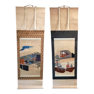Two Antique Japanese Hanging Scroll Paintings - Pair For Sale