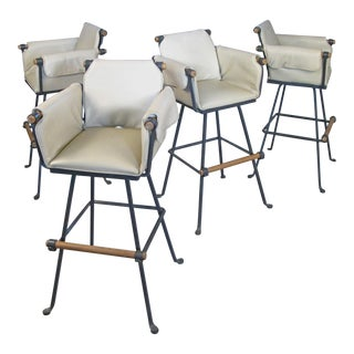 Cleo Baldon Iron & Oak Swivel Barstools - Set of 4 For Sale