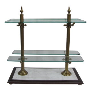 French Marble, Brass and Glass Pottery Barn Pastry Stand For Sale