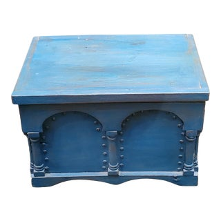 1990s Moroccan Turquoise Wooden Trunk For Sale