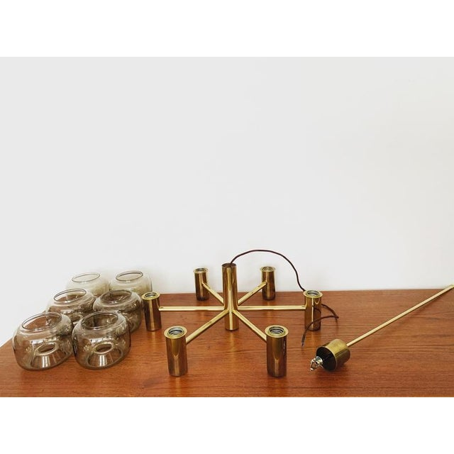 Mid-Century Modern Brass and Smoked Glass Chandelier For Sale In Los Angeles - Image 6 of 7