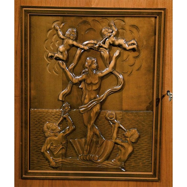 Art Deco Swedish Art Deco Neoclassical Carved Armoire Cabinet For Sale - Image 3 of 10