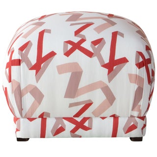 Ottoman in Pink & Red Ribbon by Angela Chrusciaki Blehm for Chairish For Sale
