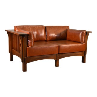 Crafters and Weavers Craftsman Crofter Style Love Seat For Sale