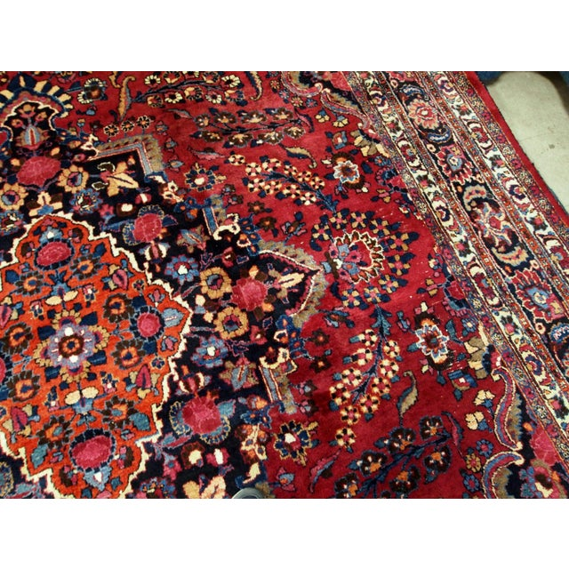 Textile 1910s handmade antique Persian Mashad rug 10.2' x 13.9' For Sale - Image 7 of 11