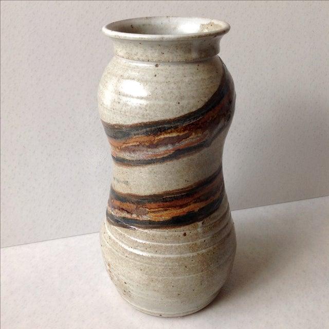 Studio Pottery Neutral Tone Glazed Vase - Image 5 of 11