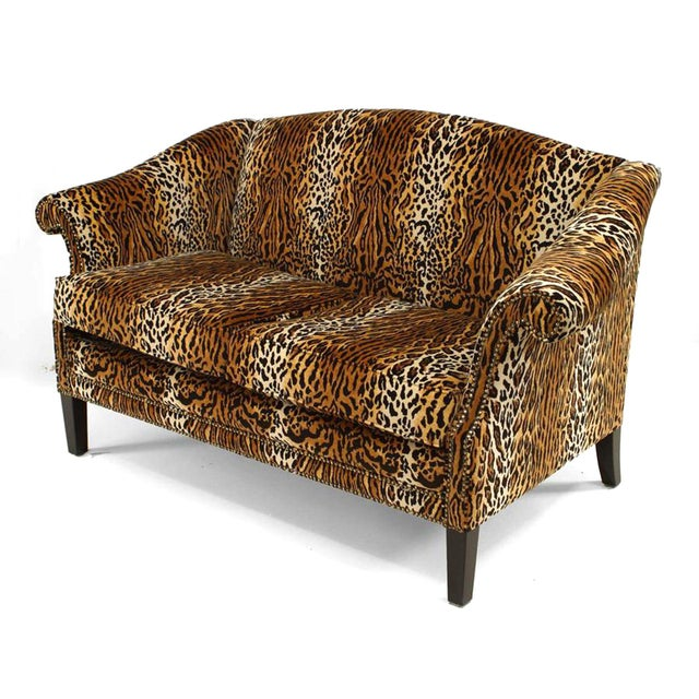 Victorian English Victorian Style Leopard Print Velvet Loveseat For Sale - Image 3 of 3