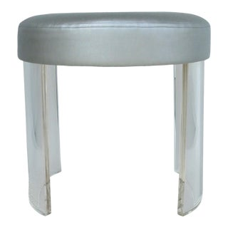Custom Lucite Vanity Stool with Silver Metallic Upholstered Seat Cushion For Sale