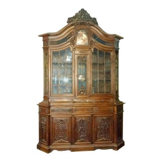 French Vaisselier Cabinet With Clock
