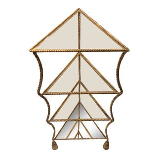 Vintage Italian Gilt Metal Triangular Faux Rope and Tassel Shelf For Sale