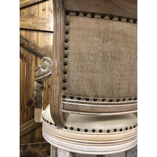 Not Yet Made - Made To Order French Country Rustic Antique White Bar Stool For Sale - Image 5 of 9