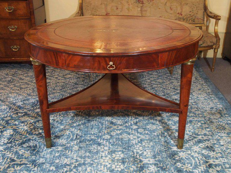 Antique French Louis Philippe Mahogany Leather Top Drum Table, Circa 1840    Image 2 Of