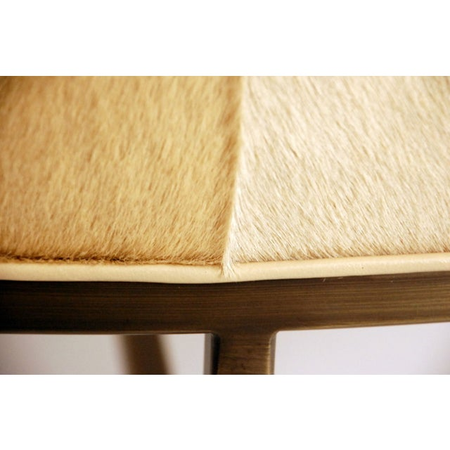 """Metal Contemporary """"Tambour"""" Natural Hide and Brass Ottoman For Sale - Image 7 of 10"""