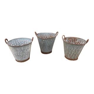 1970s Vintage Olive Buckets - Set of 3 For Sale