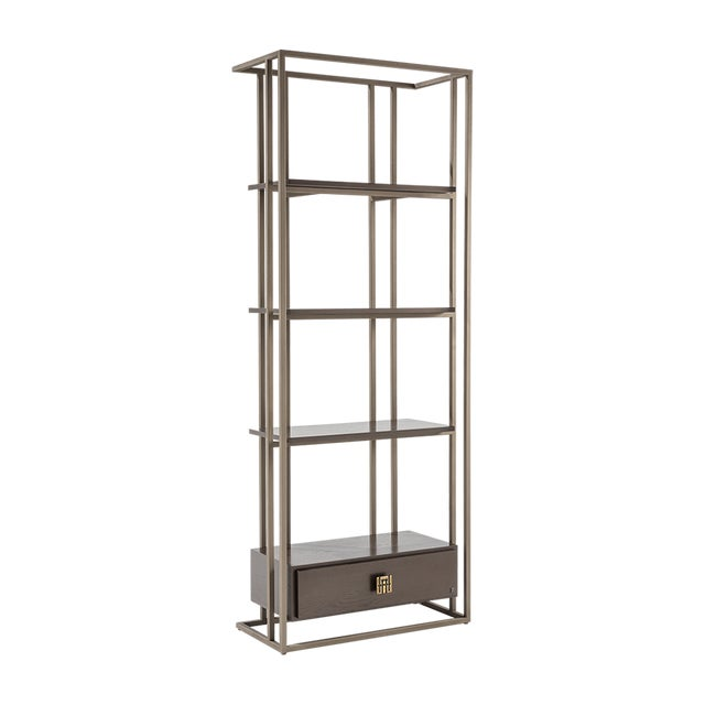 Metal Bookcase structure with wood eucalyptus drawer. Use individually for a home or office library or studio.