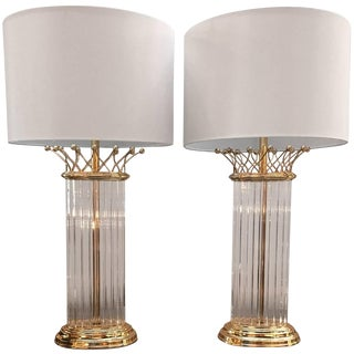 1980s Modern Chapman Manufacturing Co. Crystal Table Lamps - a Pair For Sale