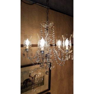 Etched Hurricane Shade Crystal 5 Arm Chandelier Preview