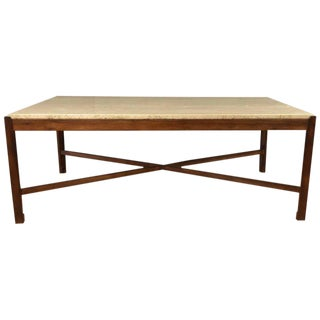 Vintage Danish Rosewood and Travertine Coffee Table
