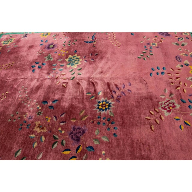 Textile Early 20th Century Antique Art Deco Chinese Wool Rug For Sale - Image 7 of 11