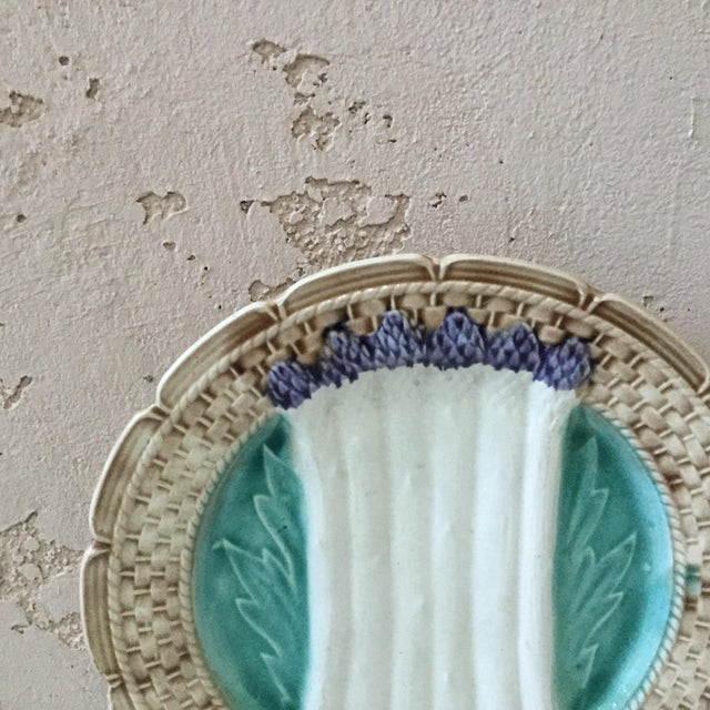 Large French Majolica asparagus plate signed Orchies circa 1920. 5 plates available.