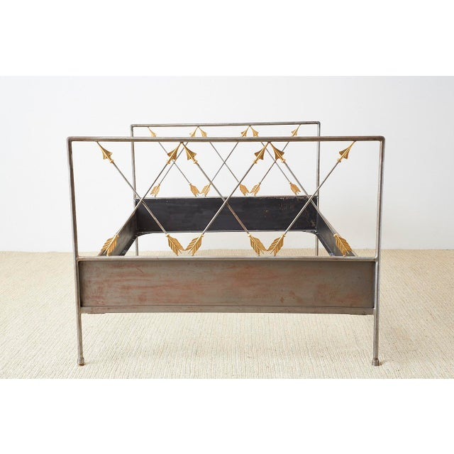 Spectacular French neoclassical style bed handcrafted from steel in the manner and style of Maison Jansen. Features a...