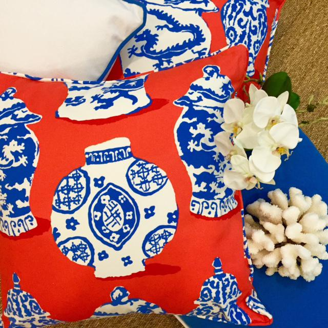 Dana Gibson Persimmon Red, White & Blue Pillows- A Pair - Image 6 of 7