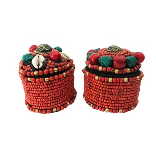 """Nepalese Turquoise and Red Coral Round Boxes 2.5"""" H Preview"""