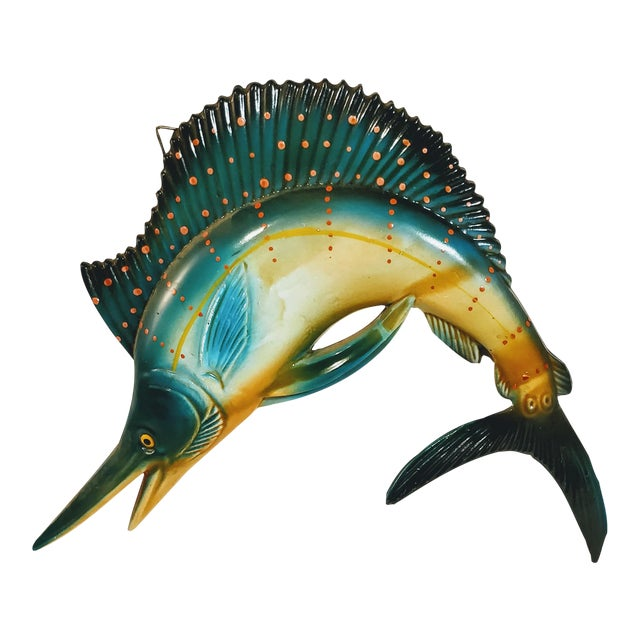 Vintage Fiberglass Swordfish Plastic Wall Sculpture For Sale