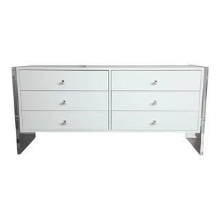 Six-Drawer White Lacquer Dresser with Acrylic Side Panels For Sale