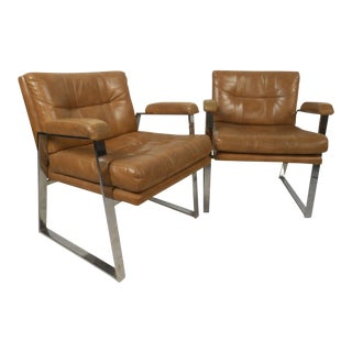 Pair Vintage Modern Chrome and Vinyl Armchairs For Sale