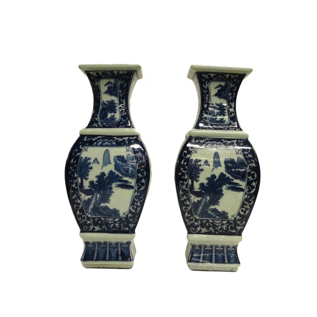 Chinese Blue & White Porcelain Vases - A Pair - Image 1 of 4
