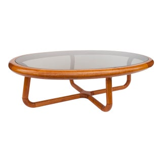 Mid Century Danish Teak and Glass Coffee Table for Uldum Møbelfabrik For Sale