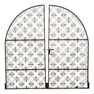 Vintage Spanish Style Hollywood Regency Ornate Gold Wrought Iron Garden Gates For Sale