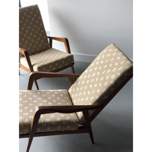 Pair of Mid-Century newly upholstered reclining chairs c.a.1950's, Oak Height: 33 in Width: 25 in Depth: 27 in