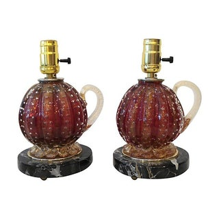 Barovier & Toso Glass Lamps - a Pair For Sale